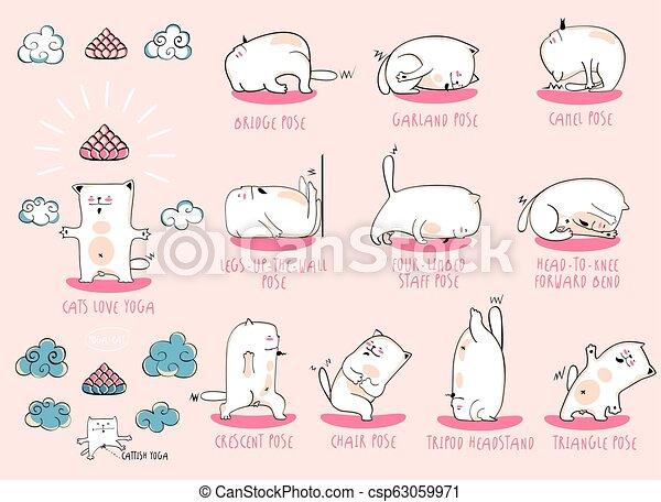 White Yoga Cat Set White Yoga Cat Vector Funny Set Of Basic Poses
