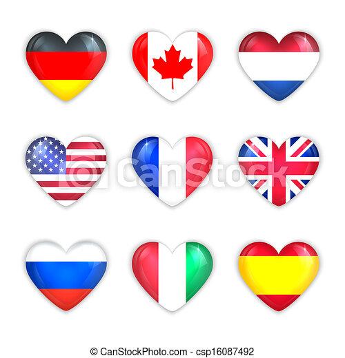 white., zászlók, szív, országok, pohár, ikon, elszigetelt, set. - csp16087492