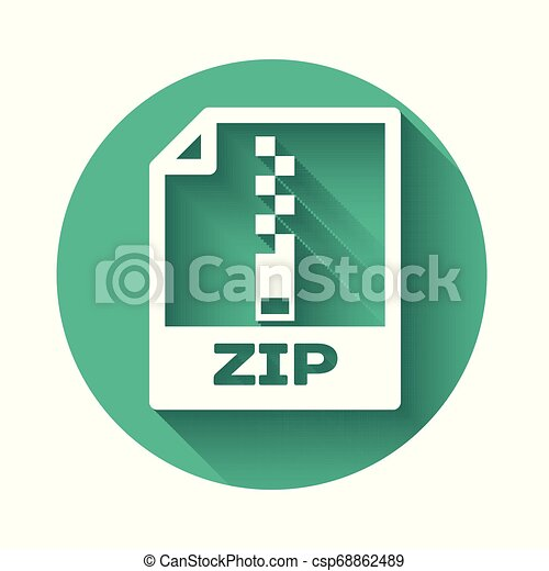 White ZIP file document icon. Download zip button icon isolated with long shadow. ZIP file symbol. Green circle button. Vector Illustration - csp68862489
