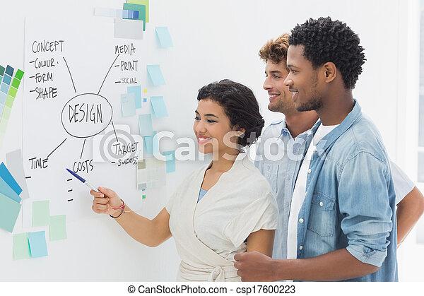 whiteboard, artyści, dyskusja, przód - csp17600223