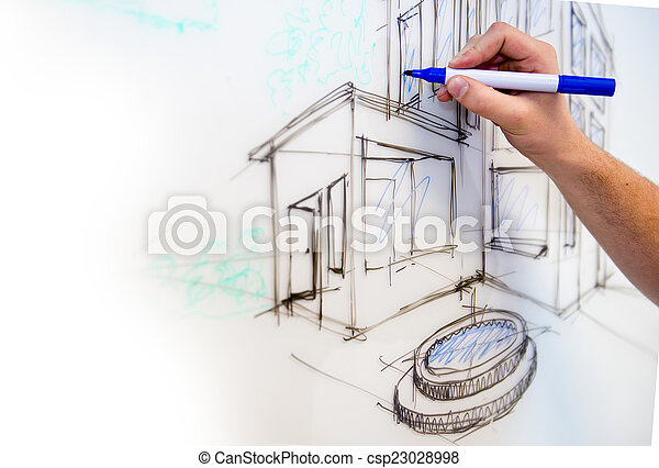 Whiteboard drawing - csp23028998