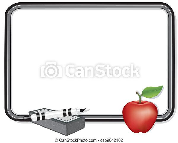 whiteboard, mela, insegnante - csp9042102