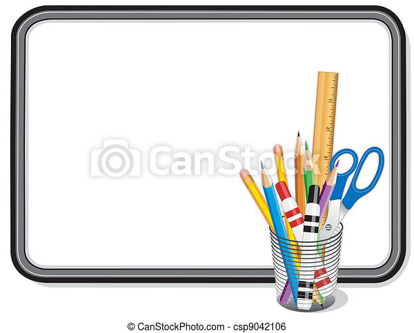 whiteboard with office supplies whiteboard with office and clip rh canstockphoto com office supply clip art office school supplies clipart