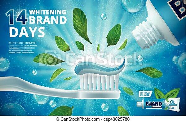 Whitening toothpaste ads - csp43025780