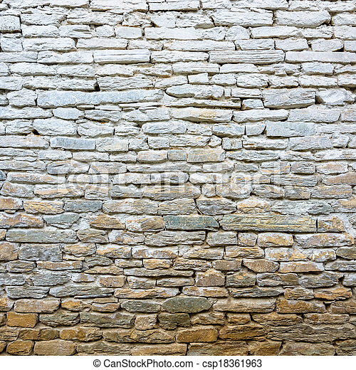 Whitewash old stone wall - csp18361963