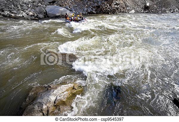 whitewater, 川, いかだで運ぶこと - csp9545397