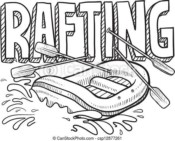 Whitewater Rafting Sketch Doodle Style Whitewater Rafting Clip
