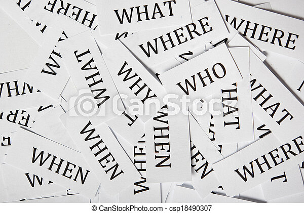 Who what when where why printouts - csp18490307