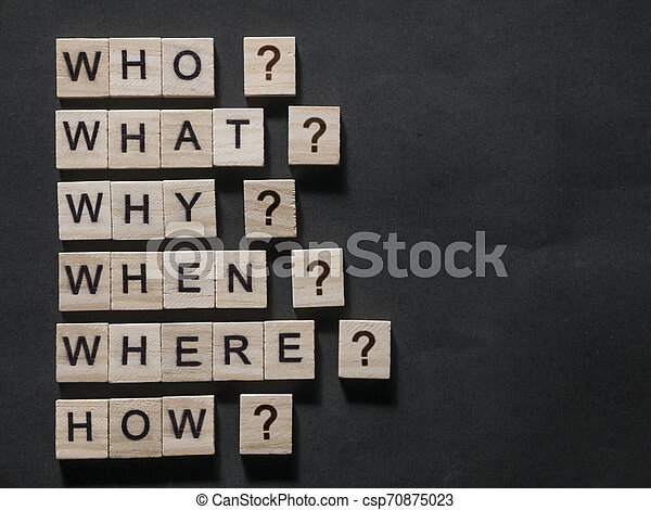 Who What Why When Where How, Questional Words Quotes Concept - csp70875023