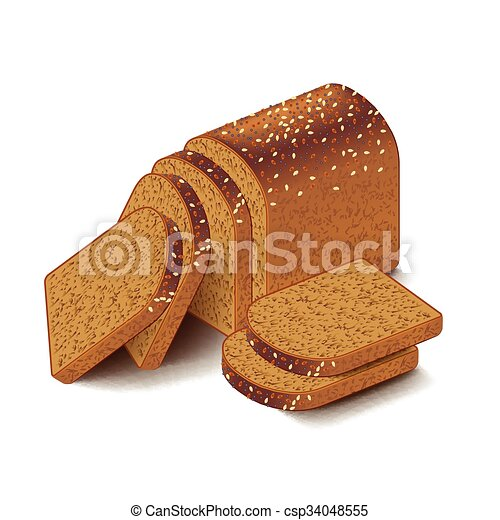 Whole grain sliced bread isolated on white vector - csp34048555
