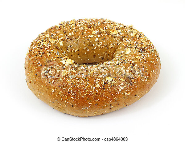 whole grain wheat bagel a single whole grain wheat bagel on a white rh canstockphoto com Cereal Clip Art Macaroni Clip Art