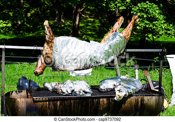 Whole roasted pig on a spit - csp9737092
