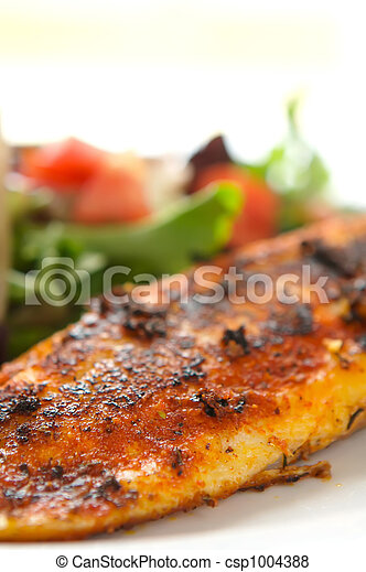 Whole seasoned fillet of white fish on mixed salad with tomatoes - csp1004388