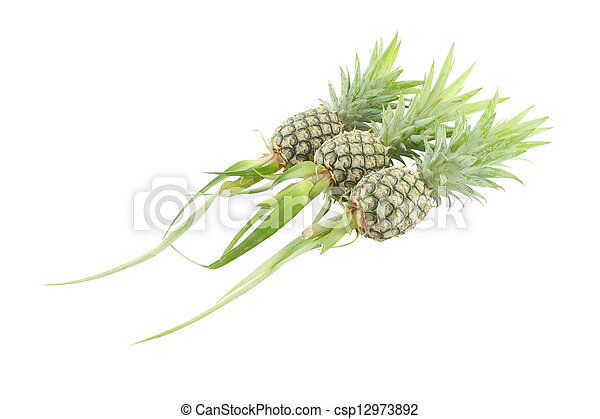 Whole three pineapple on white background. - csp12973892
