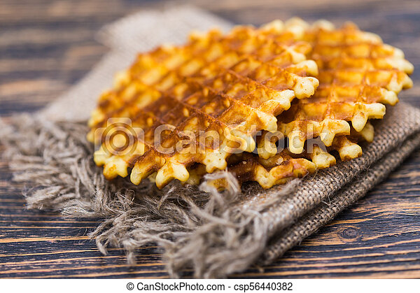 Whole wheat Belgium waffle horizontal view - csp56440382