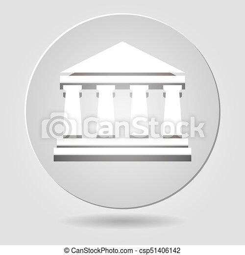 El icono del banco de papel en el fondo gris - csp51406142