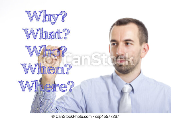 Why? What? Who? When? Where? - Young businessman writing blue text on transparent surface - csp45577267