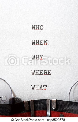 Why, who, where, when and what questions - csp85295781