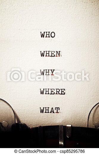 Why, who, where, when and what questions - csp85295786