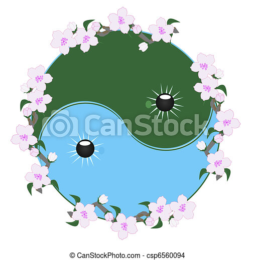 wiśnia, ying yang, blossomsl - csp6560094