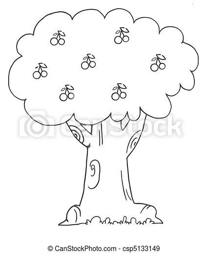 wiśniowe drzewo, szkic - csp5133149