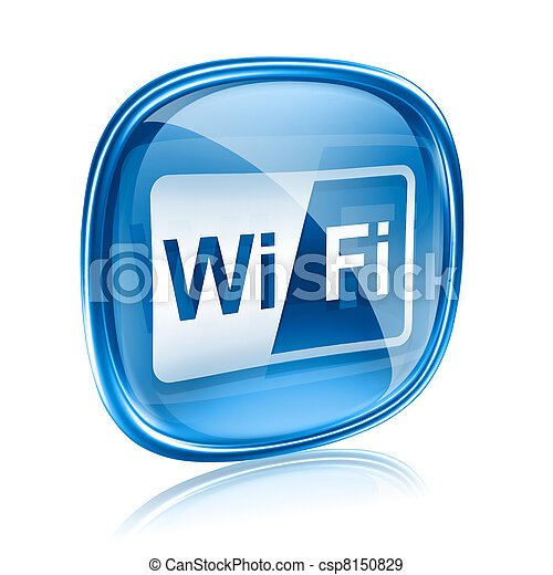 WI-FI icon blue glass, isolated on white background - csp8150829