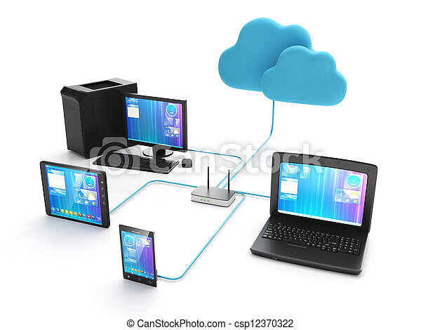 Wi fi network of electronic devices. Group of mobile ustroyv connected to the internet - csp12370322