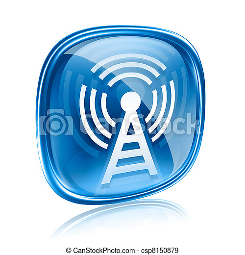 WI-FI tower icon blue glass, isolated on white background - csp8150879