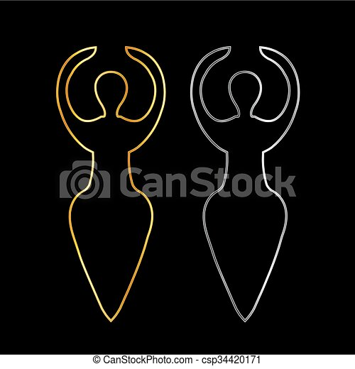 wicca, or, symbole, argent - csp34420171