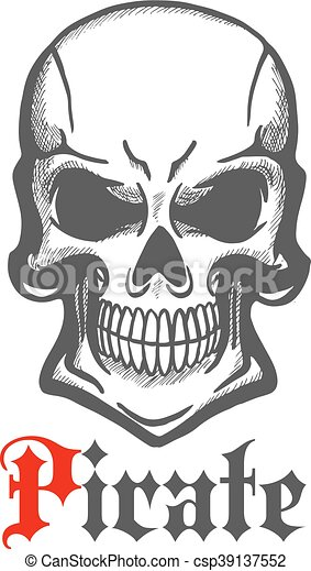 wicked skull with crazy cheesy grin sketch aggressive smiling jolly