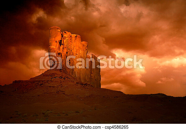 Wicked Storm in Monument Valley Arizona - csp4586265