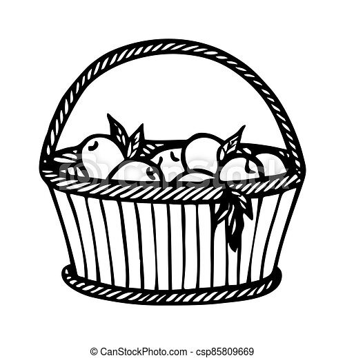WICKER BASKET WITH APPLES - csp85809669