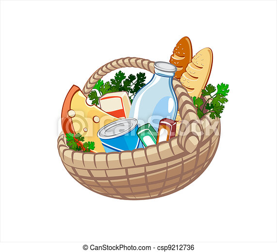 Wicker basket with dairy products, bake and other food - csp9212736