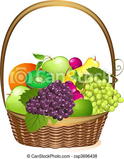 wicker basket with fruit - csp3696438