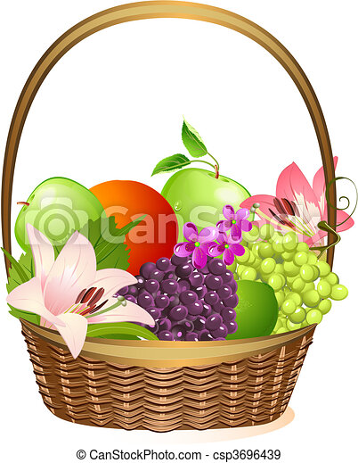 wicker fruit basket with flowers - csp3696439