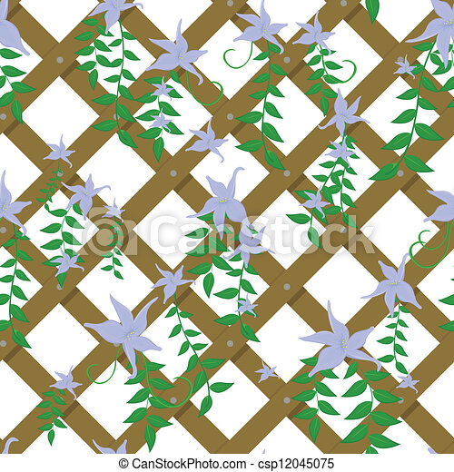 wicker with blue flowers - csp12045075
