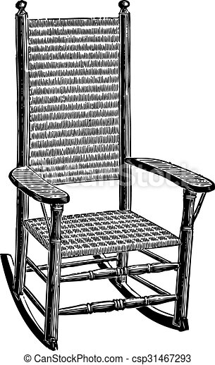 Engraving Of An Old Rush Mat Woven Rocking Chair
