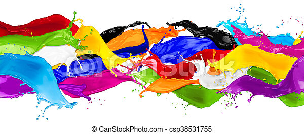 wide abstract color splashes - csp38531755