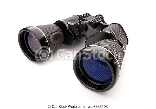 Wide angle close up of binoculars on a white background - csp3336103