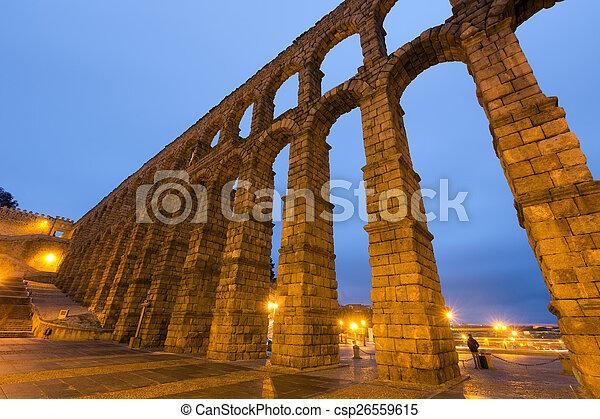 wide angle shot of Roman Aqueduct in Segovia, Spain - csp26559615