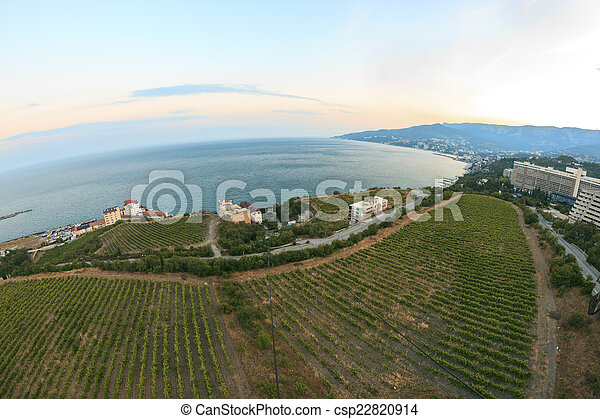 Wide angle view to sea and beach - csp22820914