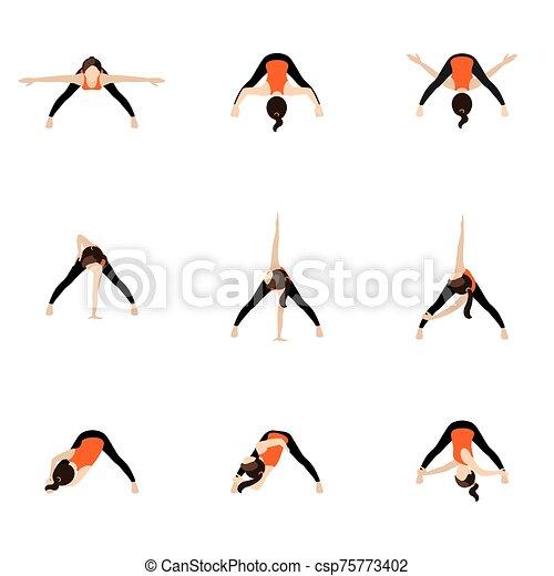 wide legged forward bend twist variations yoga asanas set