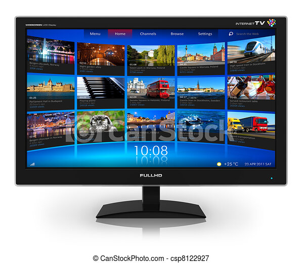 Widescreen TV with streaming video gallery - csp8122927