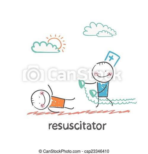wiederbelebung, eile, patient, krank - csp23346410