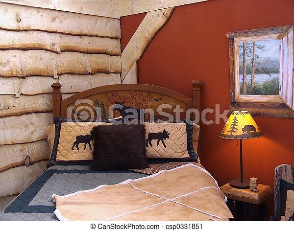 wiejski, sypialnia - csp0331851
