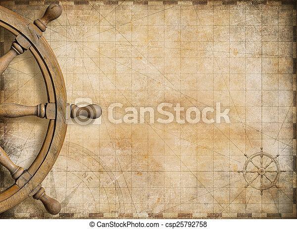 wiel, kaart, ouderwetse , nautisch, achtergrond, leeg, stuurinrichting - csp25792758