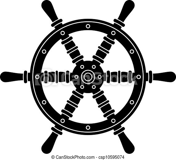 wiel, silhouette, vector, nautisch, stuurinrichting, scheepje - csp10595074
