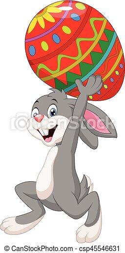 wielkanoc, transport, jajko, rysunek, królik - csp45546631