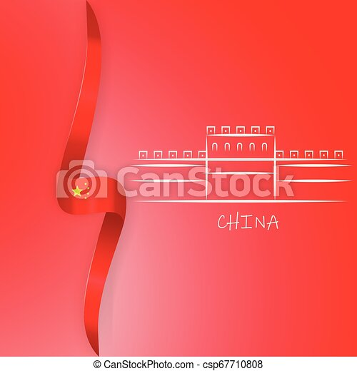 wielki, chińczyk, ściana, flag., concept., ilustracja, porcelana, polityka - csp67710808