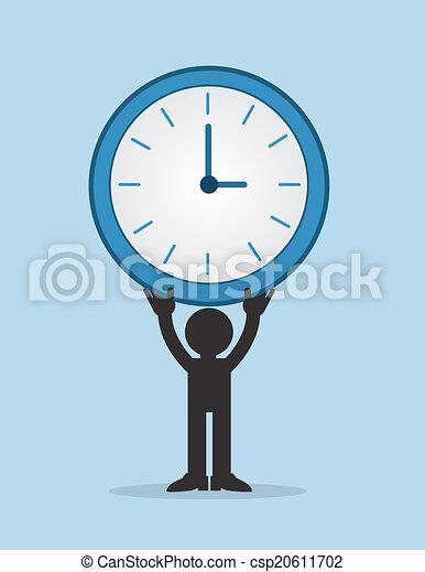 wielki, figura, dzierżawa, zegar - csp20611702